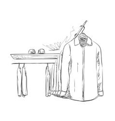 Hand drawn wardrobe sketch Mans shirt vector