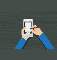 hands using mobile phone vector image