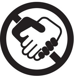Handshake ban icon isolated stop handshake sign vector