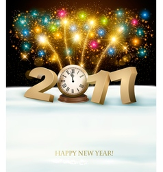 Happy New Year 2017 background with fireworks vector