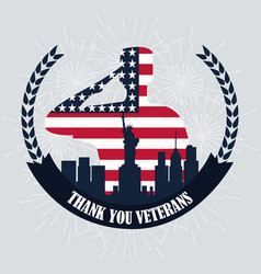 happy veterans day silhouette soldier flag and ny vector image