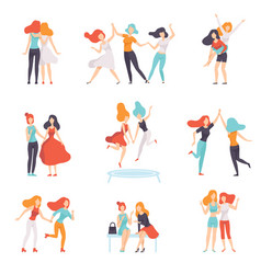 Happy women friends having good time together set vector