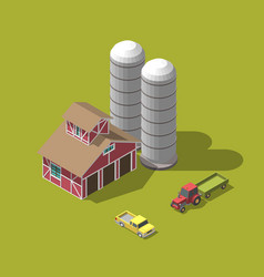 harvesting wheat isometric vector image