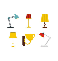 home lamp icon set flat style vector image
