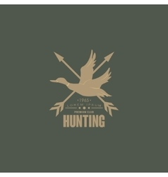 Hunting vintage emblem with horns and guns vector