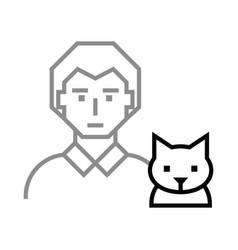 icon man with cat vector image