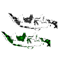 Indonesia - map is designed cannabis leaf vector