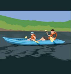 Kayaking adventure vector