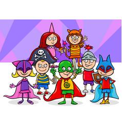Kids group at mask ball cartoon vector