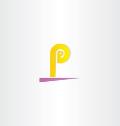 Letter p yellow purple sign logo vector