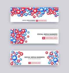 Likes emoji banner set blue and red thumb up and vector
