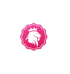 Lion head and crown in top logo design animal vector