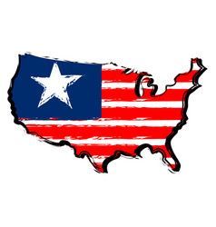 map of united states with flag vector image