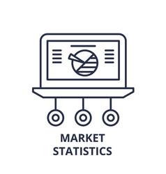 market statistics line icon concept market vector image