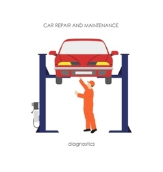 Mechanic produces vehicle diagnostics vector image