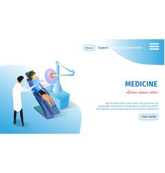 Medicine horizontal banner girl in medical chair vector
