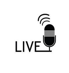 Microphone live black vector