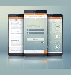 Mobile social application design template vector