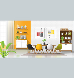 Modern colorful dining room vector