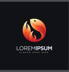 modern geometric fire fish logo icon vector image