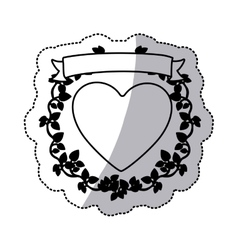 Monochrome sticker with heart and ribbon with vector