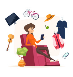 online shopping woman with smartphone buy vector image