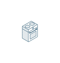oven stove isometric icon 3d line art technical vector image