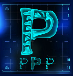 P letter capital digit roentgen x-ray vector