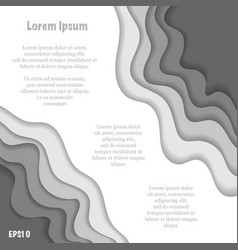 Paper cut grayscale waves background vector