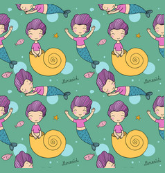 Pattern with cute little mermaid siren sea theme vector