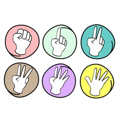 Person Counting Hands 0 to 5 on Round Background vector image