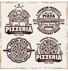 Pizza and pizzeria set four emblems vector