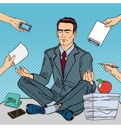 Pop art businessman meditating on office table vector