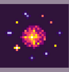 powerful explosion for pixel game vector image
