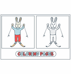 rabbit skier coloring vector image
