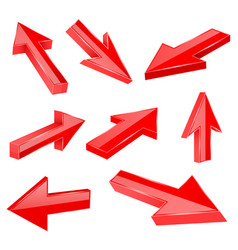 red straight 3d arrows vector image