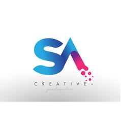 Sa letter design with creative dots bubble vector