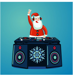 Santa claus dj with vinyl turntable christmas vector