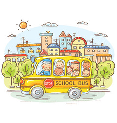 School bus with happy kids in the city vector