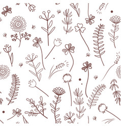 seamless pattern with wild meadow herbs vector image