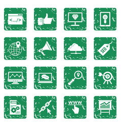 seo icons set grunge vector image