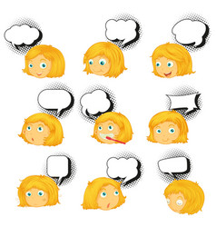 set different girl expression vector image