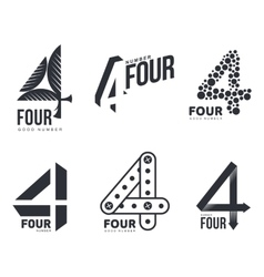 Set of black and white number four logo templates vector