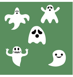 set of halloween ghosts for design isolated on vector image