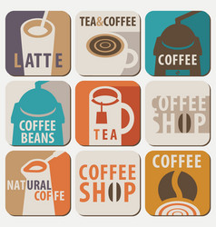 set of logo for hot drinks tea and coffee vector image