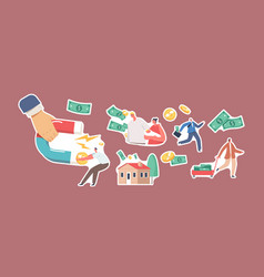 set stickers debt collection theme hand with vector image