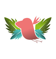 Silhouette bird with exotic leaves reserve vector