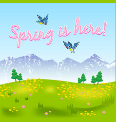 spring is here natural scenery with grassy meadow vector image