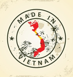 Stamp with map flag of Vietnam vector