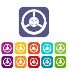 Steering wheel icons set flat vector